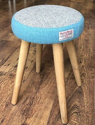 Dressing Table Stool: Grey and Blue Harris Tweed with Rustic Wooden Legs