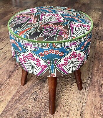 Art Deco Liberty of London Footstool, Green Velvet Piping, Varnished Wooden Legs