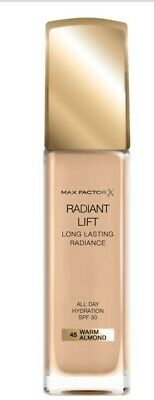 NEW & SEALED MAX FACTOR RADIANT LIFT FOUNDATION IN 45 Warm Almond 30ML SPF30