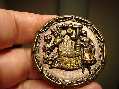 Antique tinted brass 2 WOMAN GOSSIPING at WATER WELL scene 1 3/4 button