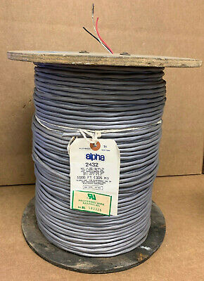 Est 1000' Alpha Wire 2432 16 Awg Shielded Stranded Tinned Copper Wire