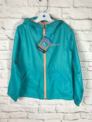 NEW Columbia Girls Youth Teal Blue Waterproof Rain Jacket Size Medium 10/12