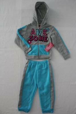 NEW Girls 2 piece Set 18 Months Hooded Jacket Pants Outfit Blue Gray Awesome