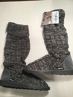 "NEW Muk Luks Women's Shelly Gray Marl Knitted Slipper Boots 17"" Tall Size 9"