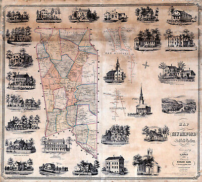 1853 Map of New Milford Litchfield Connecticut Wall Art Poster Vintage Genealogy
