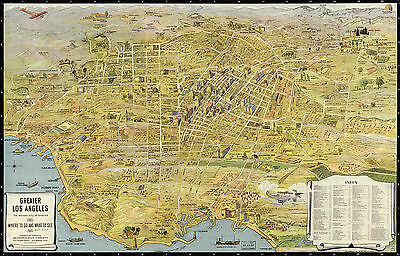 1932 Pictorial Map Greater Los Angeles Vintage History Wall Art Poster Decor