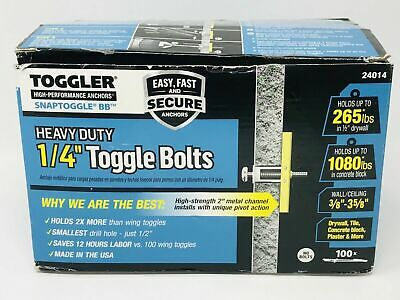"""TOGGLER Heavy Duty 1/4"""" Toggle Bolts 24014 - 100 count"""