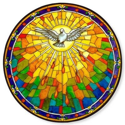 Holy Spirit Dove Stained Glass Suncatcher Sticker Window Cling NEW Catholic