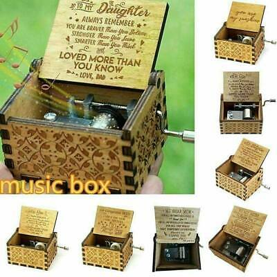 Retro Wooden Music Box Antique Hand Crank Engraved Toys Birthday Xmas Valentines