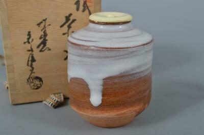 M138: Japanese Hagi-ware White glaze TEA CADDY Chaire Container w/signed box