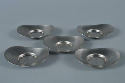 M1515: Japanese Tin TEA CUP TRAY Saucer Chataku 5pcs, Tea Ceremony