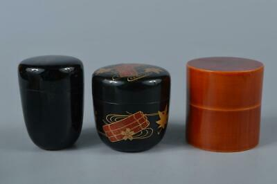 M1542: Japanese Wooden Plastics TEA CADDY Natsume 3pcs, Tea Ceremony