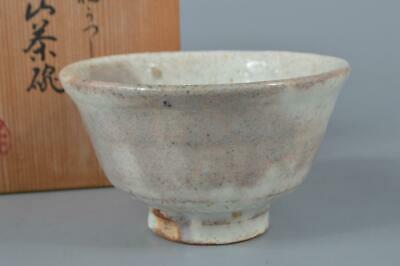 M984: Japanese Kiyomizu-ware White glaze TEA BOWL Green tea tool w/signed box