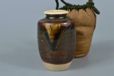 M991: Japanese Seto-ware Brown glaze TEA CADDY Container Shifuku Tea Ceremony