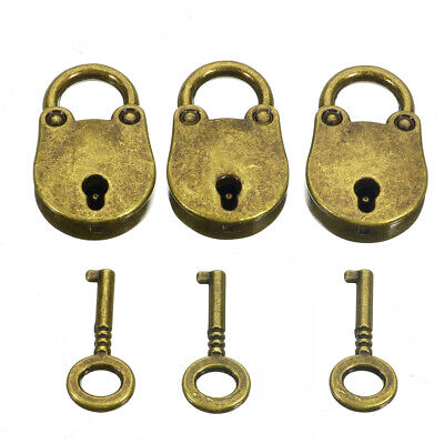 3 X Old Vintage Antique Style Bronze Mini Padlocks With Keys AM8