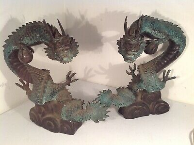 """2x  antique """"Japanese"""" bronze water Dragon statues"""