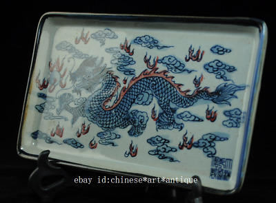 china old Blue white porcelain Glazed red Dragon plate /qianlong mark Ab02B