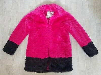 GEORGE age 12 - 13 faux FUR PINK COAT black WINTER colour block girls party