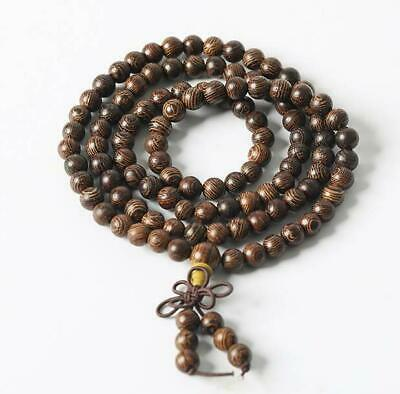 Chinese Wenge Wood Hand Carved 5MM Circle Bead Buddha Beads Bracelet /A 02B