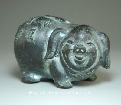 "china old hand-made bronze hand engraving pig and ""福"" antique statue Bb02B"