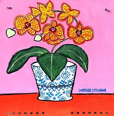 Original flower painting, folk art, naive, Yellow Orchid In A Decorative Vase