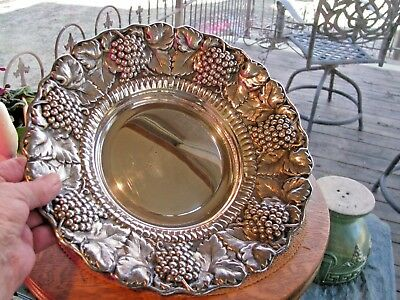 Gorgeous Silverplate Bowl With Repousse Grape And Vine-Made In Spain