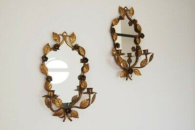 Florentine Pair Rococo Style Mirrors with candlestick