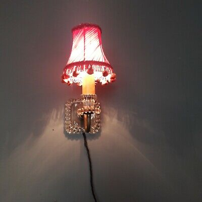 Vintage American 1930 1940 Glass & Brass Wall Light Sconce. Working. Uk Rewired