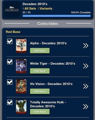 Topps Marvel Collect RED DECADES 2010s [DIGITAL CARDS] Complete Set 25 Cards