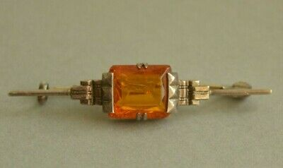 Antique Art Deco German 830 Solid SILVER Faux Amber Bar Brooch Pin