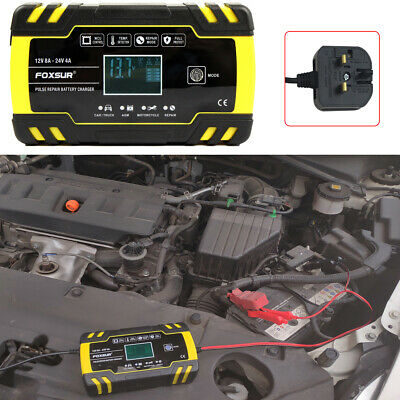Car Battery Charger 12V 8A LCD Intelligent Automobile Motorcycle Pulse Repair UK