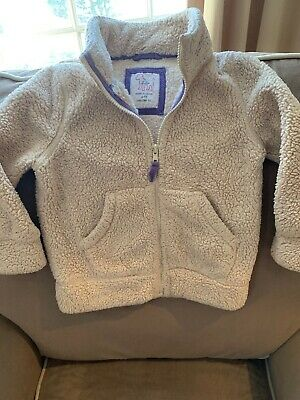Mini Boden Girl's Size 4-5 Sherpa Polyester Zip Up Jacket Outerwear Beige