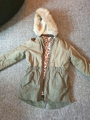 GIRLS MATALAN kharki COTTON FAUX FUR HOOD/LINED ZIP UP FITTED PARKER COAT AGE 11