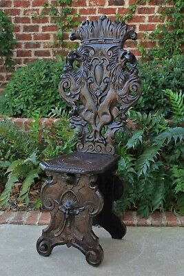 Antique Italian Carved Walnut Sgabello Chair Side Hall Chair Renaissance Gothic