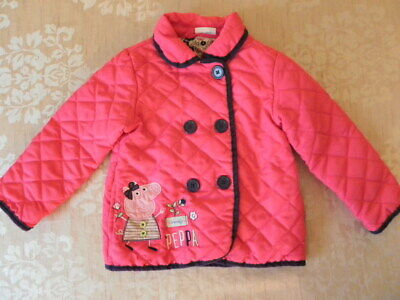TU Peppa Pig Pink Girls quilted winter coat age 2-3 years