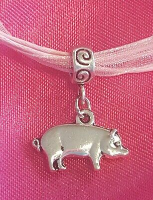 Pig Necklace Piggy Jewelry Piglet Gift Necklace 4H Swine Silver Pink Organza New