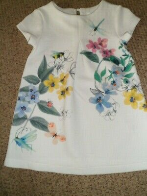 Next Girl's White Dress with Floral Pattern Size 12-18 Months