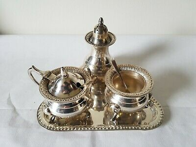 Vintage EPNS Wares Silver Plate Cruet Set Made in India Art No.4903