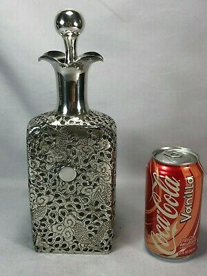 Large Antique Chinese Sterling Silver Glass Decanter Bottle w Dragons by Wai Kee