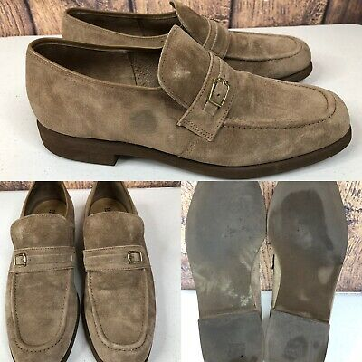 MENS HUSH PUPPIES Taupe Brown Leather Lace Up Moccasin Shoes