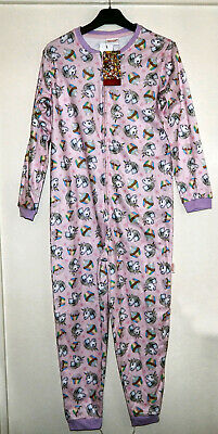 Girls 11-12 Yrs . Official Emoji Pink Sleepsuit With Unicorns & Cupcakes. New.