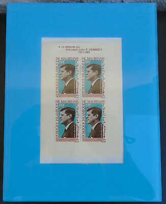 Block of FOUR Rare Vintage Stamps from Mauritanie In Memory of John F kennedy