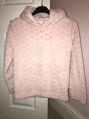 Nutmeg Girls Fluffy Lined Hooded Jumper Heart Motif Age 9-10 Pink Pj Top Pyjamas