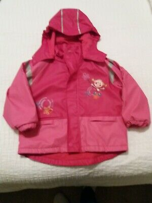 Maximo (fully lined) girls waterproof jacket size 92cm. Bright pink.