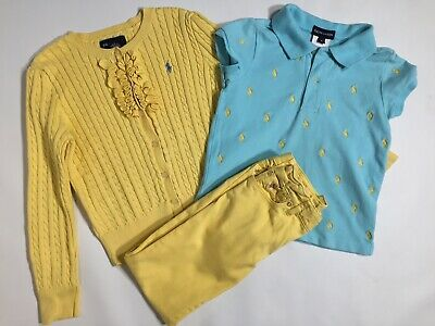 RALPH LAUREN Yellow Trouser Jumper Blue Cardigan  Polo Shirt Top 5 6  Years