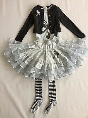 JOTTUM Baby 4 Piece Outfit Blue Bow Net Skirt Top Tights Grey Cardigan 7 8 Years