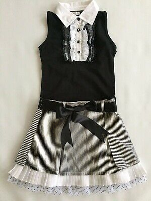 MISS GRANT Black White Skirt Top Outfit 6 7 Years