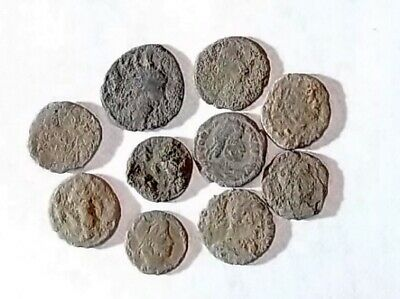 10 ANCIENT ROMAN COINS AE3 - Uncleaned and As Found! - Unique Lot 21732