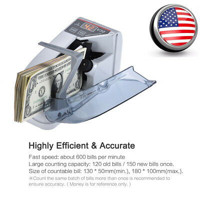 Portable Handy Bill Cash Money Count Currency Counter Machine LED Display X7C0