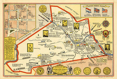 Early Midcentury Map Schenectady County New York Vintage History Wall Art Poster
